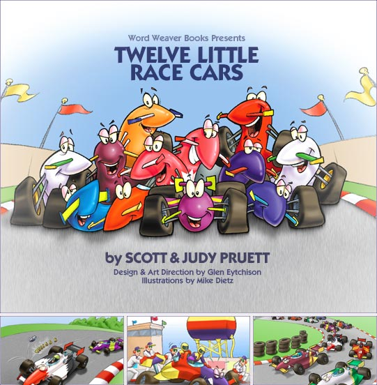 Twelve Little Race Cars